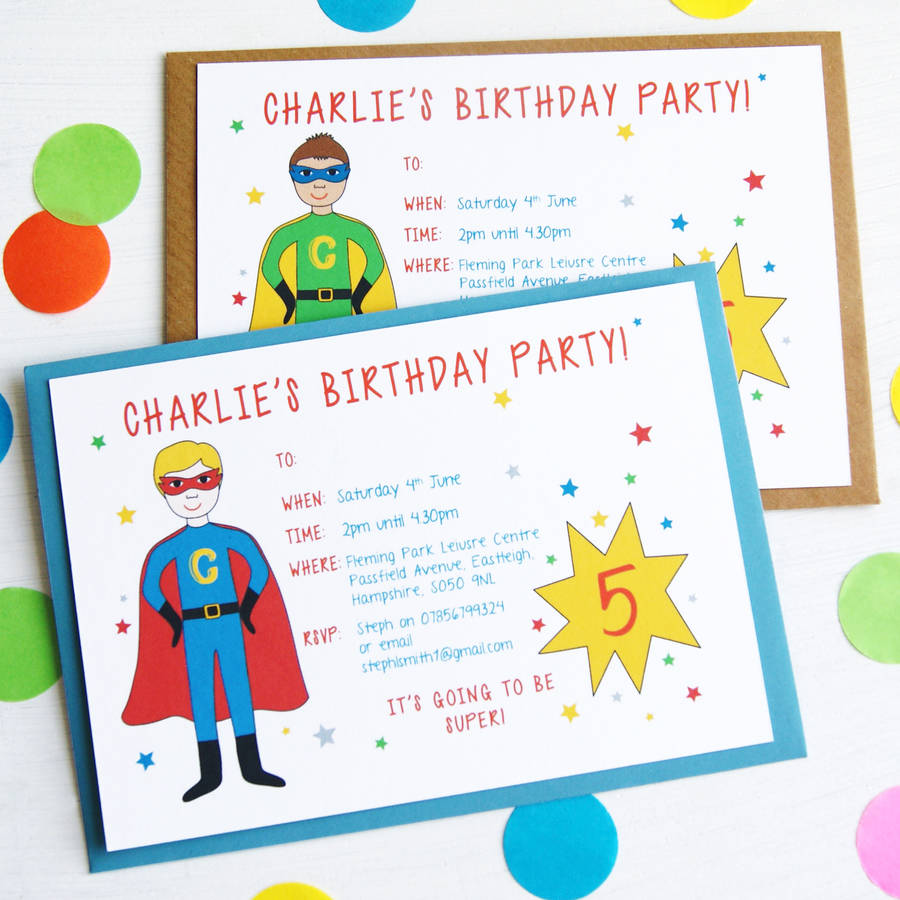 Fullsize Of Superhero Birthday Invitations