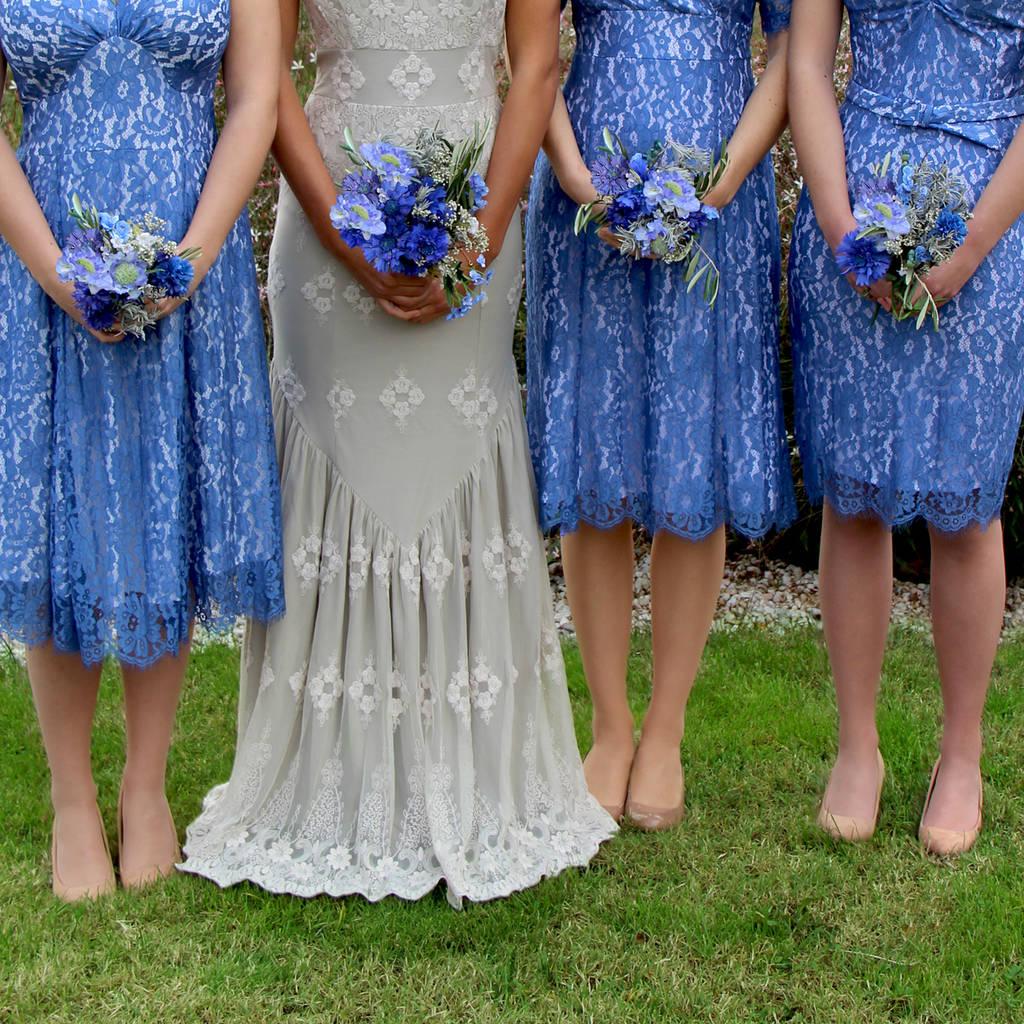 Floor Lace Bridesmaid Dresses Cornflower Blue Lace Bridesmaid Dresses Cornflower Blue By Nancy Mac Blue Bridesmaid Dresses 2018 Blue Bridesmaid Dresses Cheap wedding dress Blue Bridesmaid Dresses