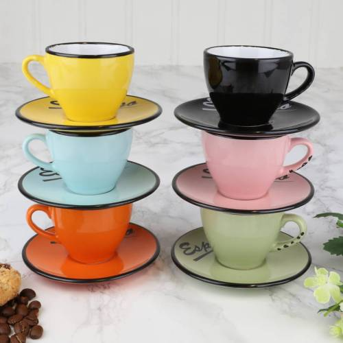 Prissy Set Six Ceramic Espresso Cups Saucers Set Six Ceramic Espresso Cups Saucers By Dibor Espresso Turkish Coffee Cups