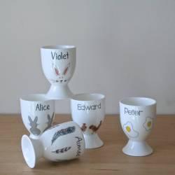 Dashing Egg Cups Personalised Rabbit Designs Personalised Egg Cup By Sparkle Ceramics Cup Design Ideas Hen