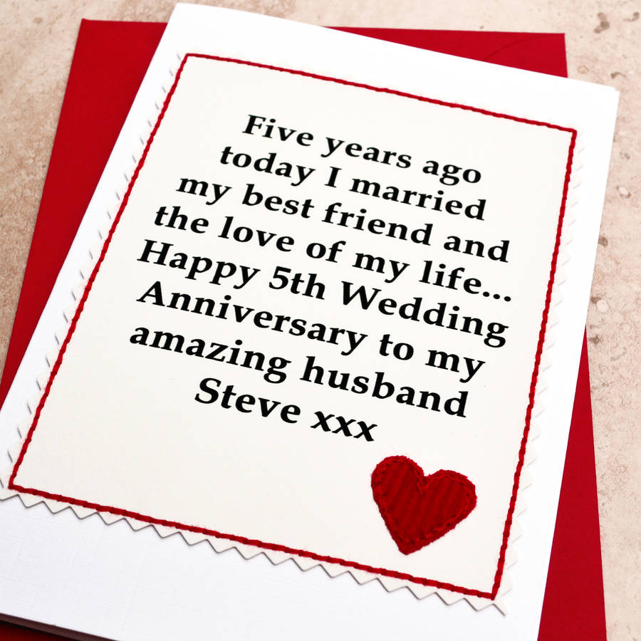 personalised 5th wedding anniversary card 5th wedding anniversary Personalised 5th Wedding Anniversary Card
