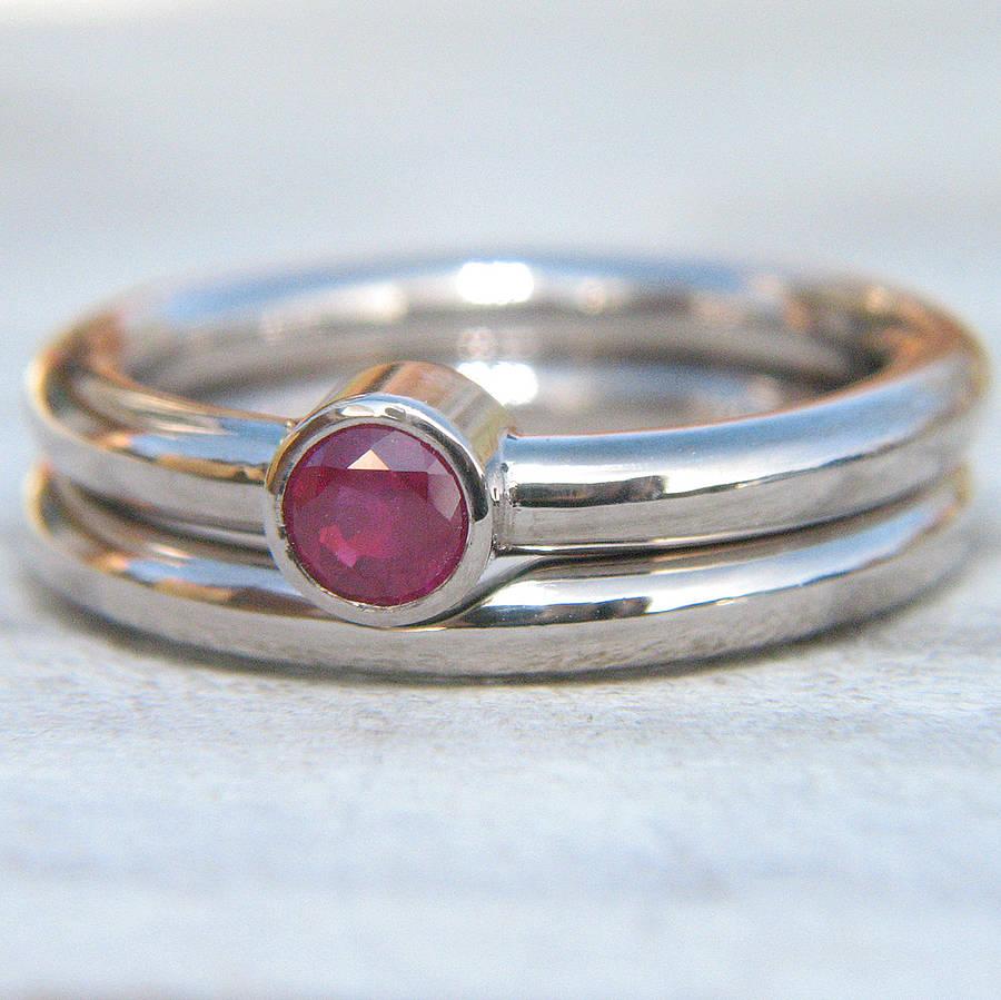 18ct white gold ruby wedding ring set ruby wedding rings Ruby Engagement Ring Set In 18ct White Gold
