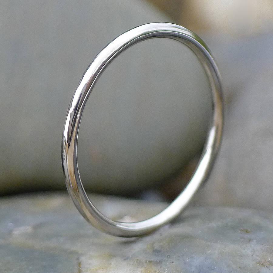 handmade recycled 18k white gold slim band halo wedding ring Slim Halo Wedding Ring In 18ct White Gold