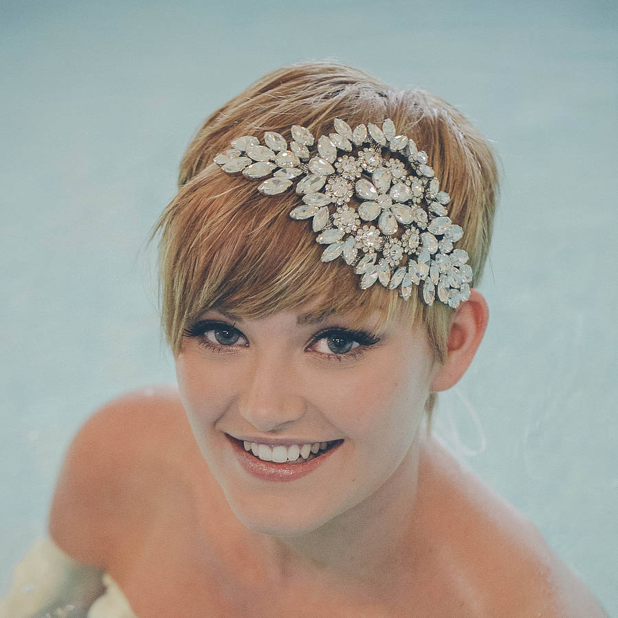 hattie diamante wedding headband wedding headpiece Hattie Diamante Wedding Headband organza ribbon tie