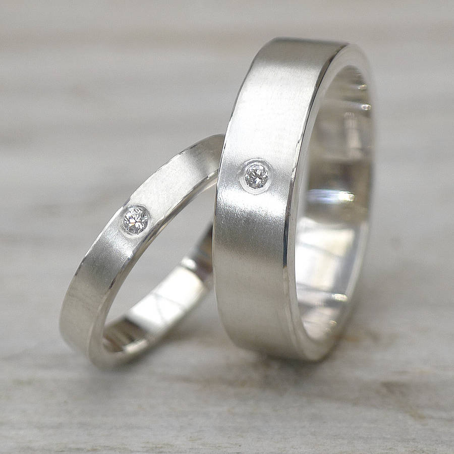 his and hers silver wedding rings silver wedding rings Matching Diamond Silver Wedding Rings