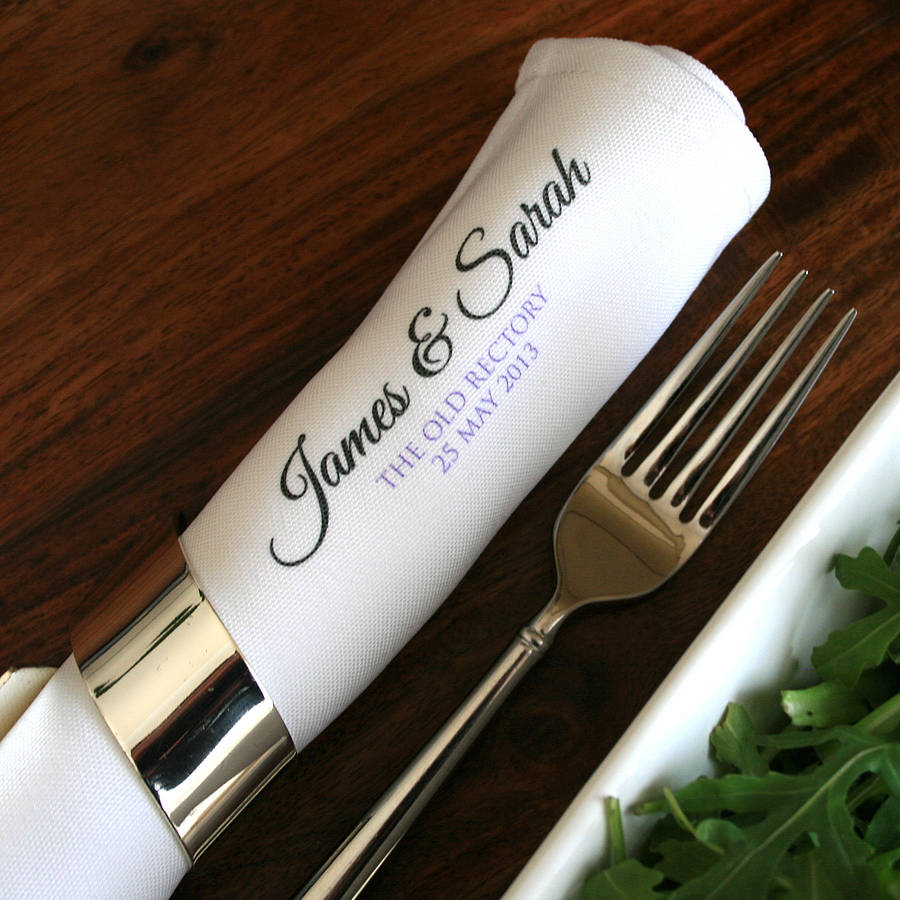personalised wedding napkins napkins for wedding Personalised Wedding Napkin Set