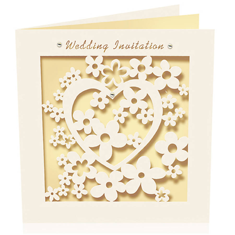 wedding invitations heart laser cut pack of six laser cut wedding invitations Wedding Invitations Heart Laser Cut Pack Of Six