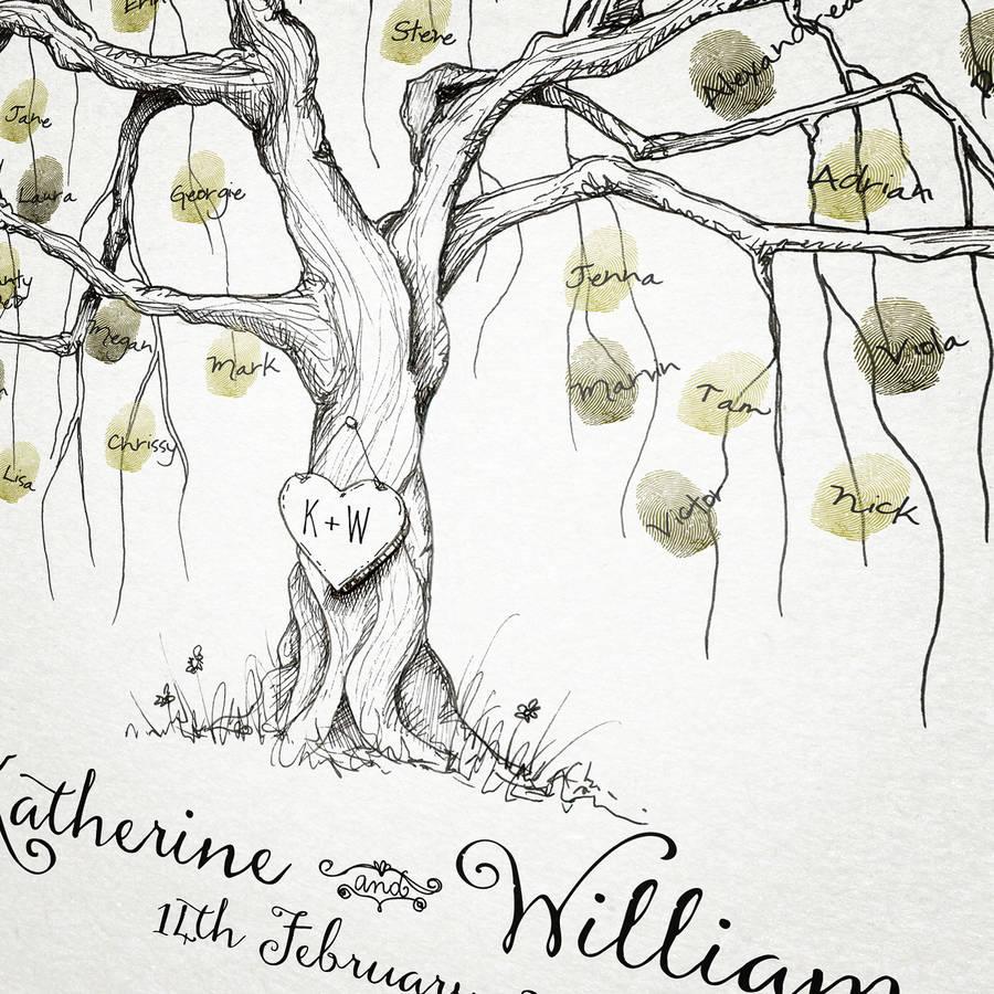 willow wedding fingerprint tree wedding tree Willow Wedding Fingerprint Tree alternative close up