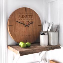Engrossing Large Personalised Wooden Oak Wall Clock Large Personalised Wooden Oak Wall Clock By Oak Rope Company Wooden Desk Clocks Wooden Clocks