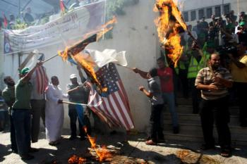 american flag burning