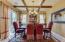Beautiful wood beams and chandelier