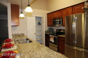 Stainless appliances and plenty of storage