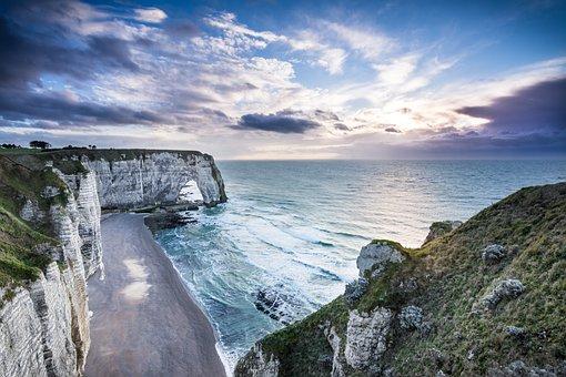 Etretat, Normandy, Beach, Cliff