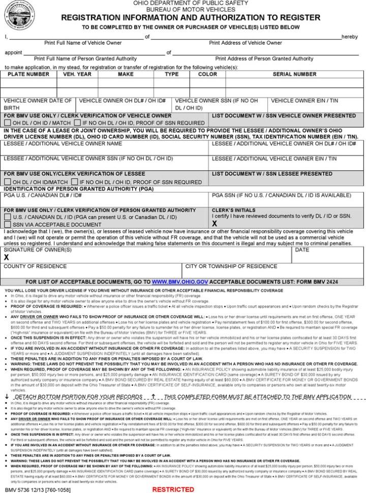 Ohio Bureau Of Motor Vehicles Power Of Attorney Form Caferacersjpg