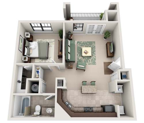 Medium Of One Bedroom Apartment Floor Plans