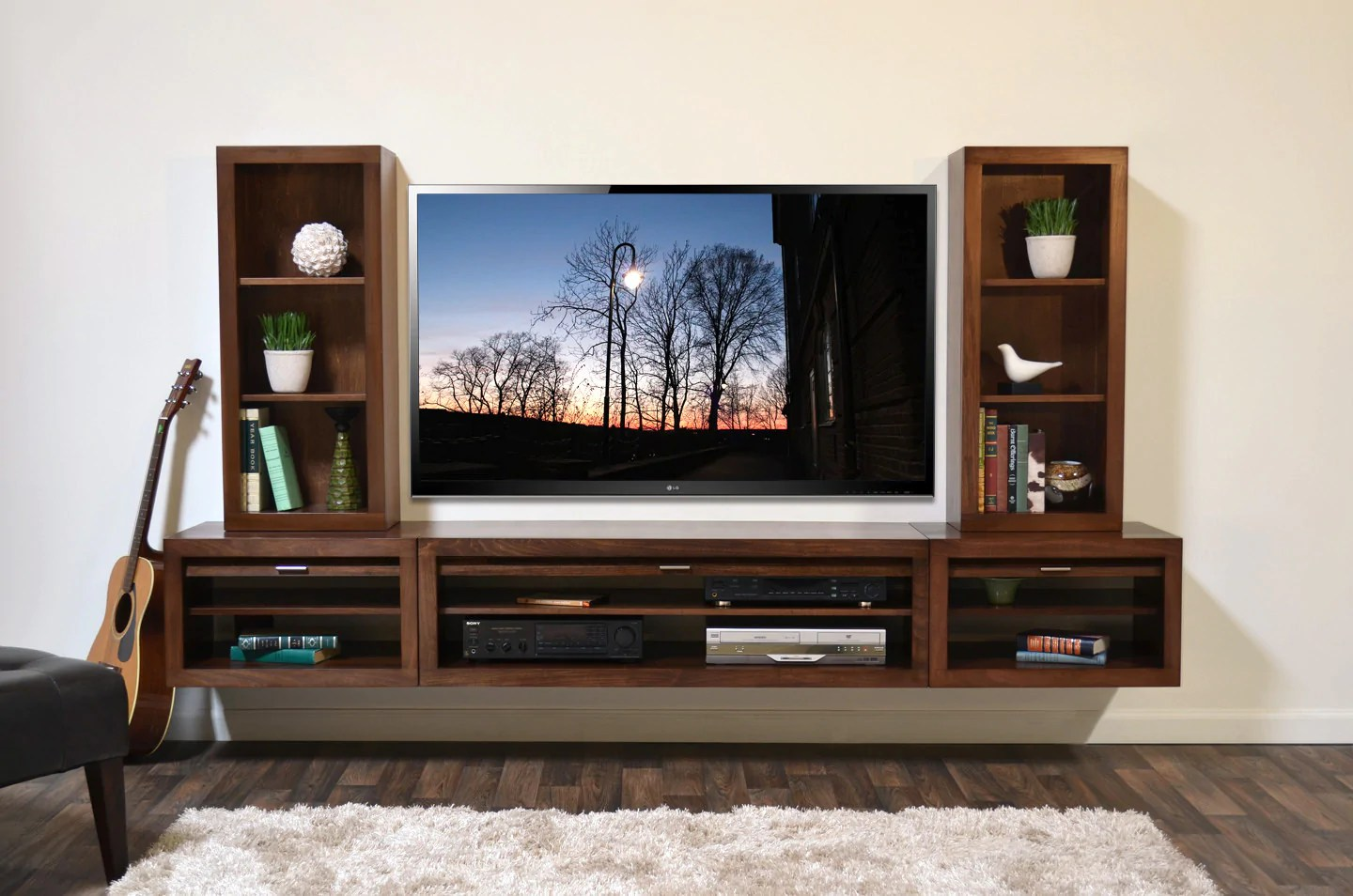 Superb Floating Tv Stand Hanging Wall Mount Entertainment Center Console Eco Geo Mocha Woodwaves 2048x Entertainment Center Design Ideas Entertainment Center Plans houzz 01 Modern Entertainment Center