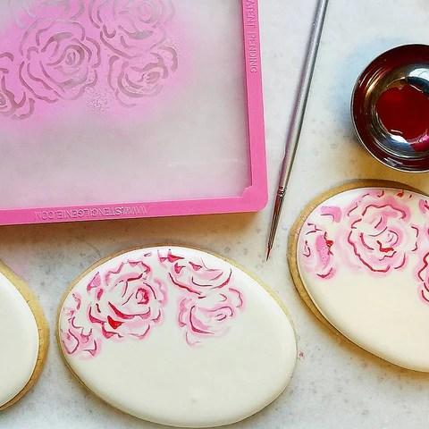 Flour Box Bakery     How to Stencil a Watercolor Rose Cookie This watercolor rose stencil is available here    https   www flourboxbakery com products rose watercolor stencil