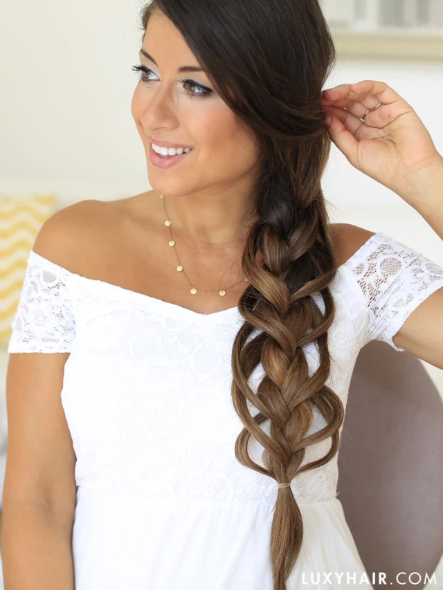 luxy hair braid hairstyle feather loop