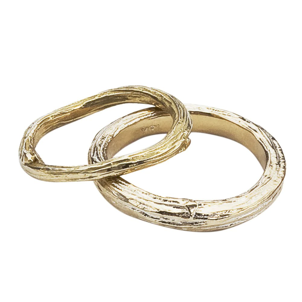 twig and branch gold wedding band set gold wedding bands Twig and Branch Gold Wedding Band Set