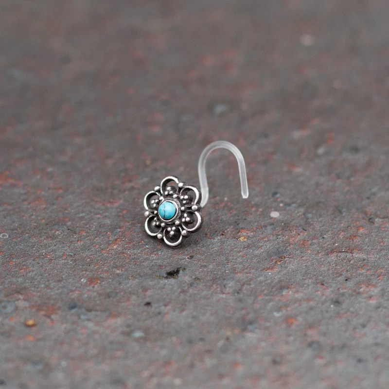 Silver Flower Bio Plastic Nose Stud With Turquoise Stone Tribu