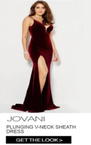 Jovani Plunging V-Neck Sheath Dress
