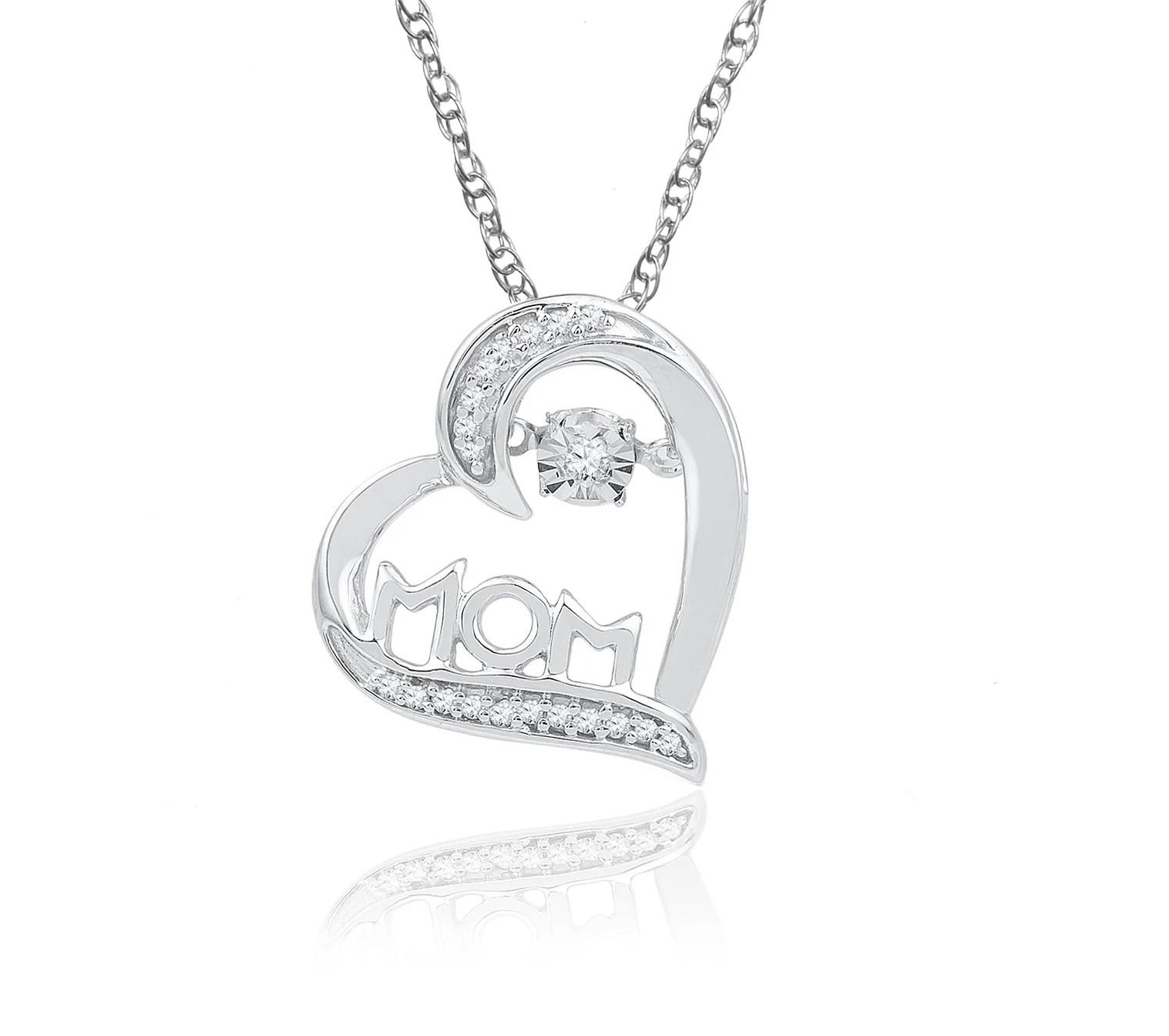 Pleasing G Diamond Heart Mom Necklace G Womens Round Diamond Mom Mor Heart Love Pendant Diamond Heart Necklace G Diamond Heart Necklace Yellow G wedding diamonds Diamond Heart Necklace