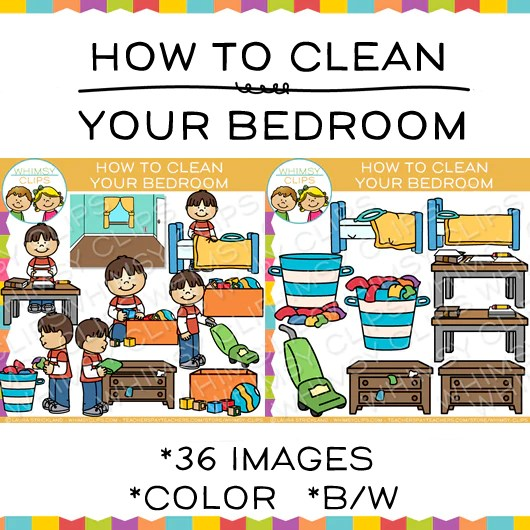 How To Clean Your Bedroom Sequencing Clip Art