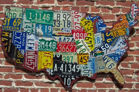 """""""cutout"""" style usa license plate map aaron foster designs"""