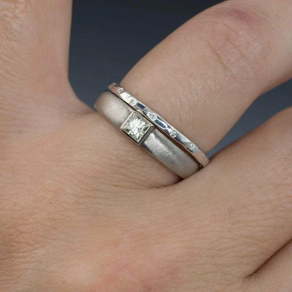 wedding band with 1 20 carat tw of diamonds in 10kt white gold diamond wedding band Wedding Band with 1 20 Carat TW of Diamonds in 10kt White Gold