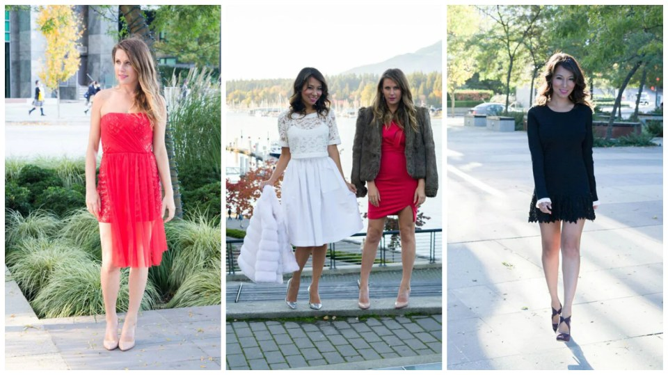 Jigme Nehring and Courtney Watkins in holiday party dresses from Mine & Yours