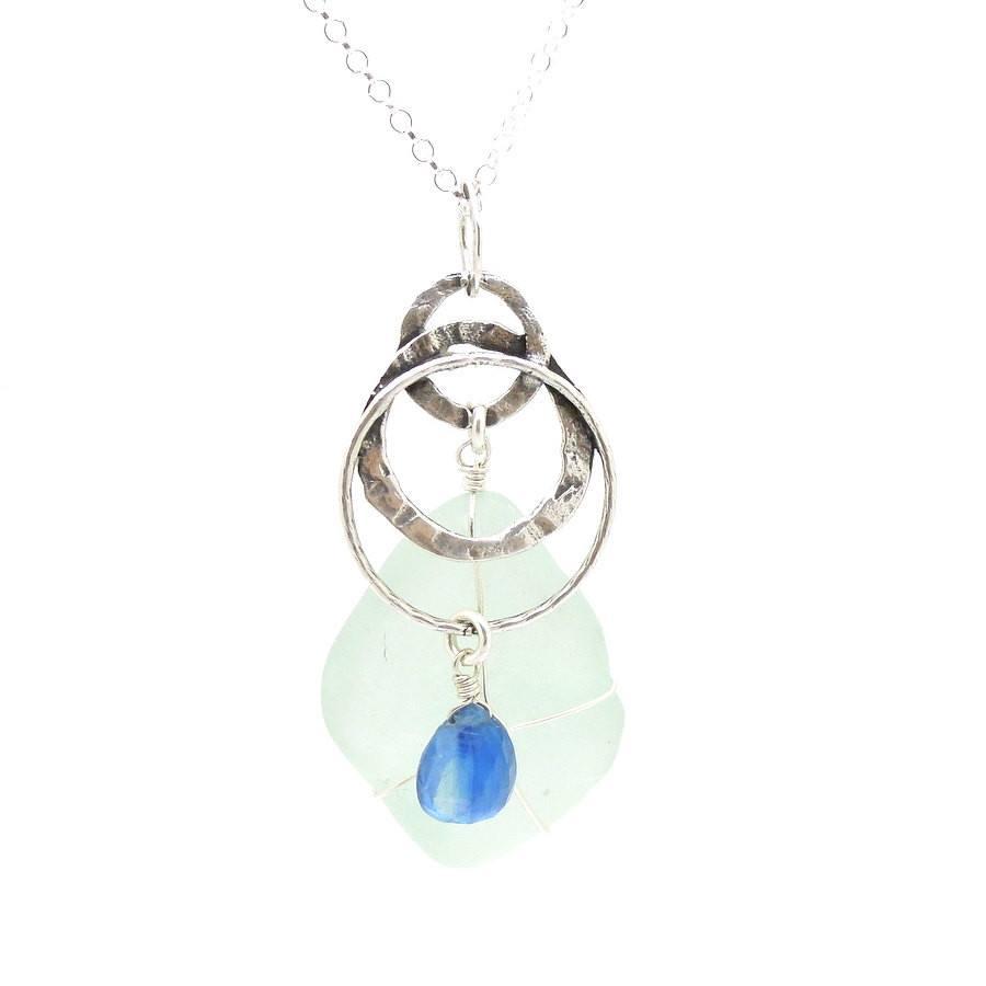 Swish Silver Kyanite Sea Glass Pendant Earrings Sea Glass Pendant Silver Kyanite Roman Glass Sea Glass Jewelry By Kristen Sea Glass Jewelry By Jane wedding jewelry Sea Glass Jewelry