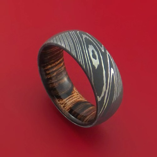 damascus steel damascus wedding band Damascus Steel Ring with Heritage Brown Hardwood Interior Sleeve Custom Made