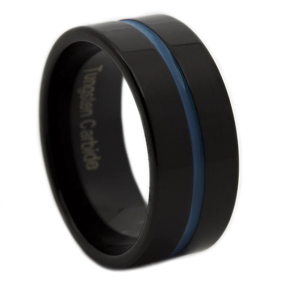 thin blue line collection police wedding rings Thin Blue Line Tungsten Ring 9MM Flat Thin Profile