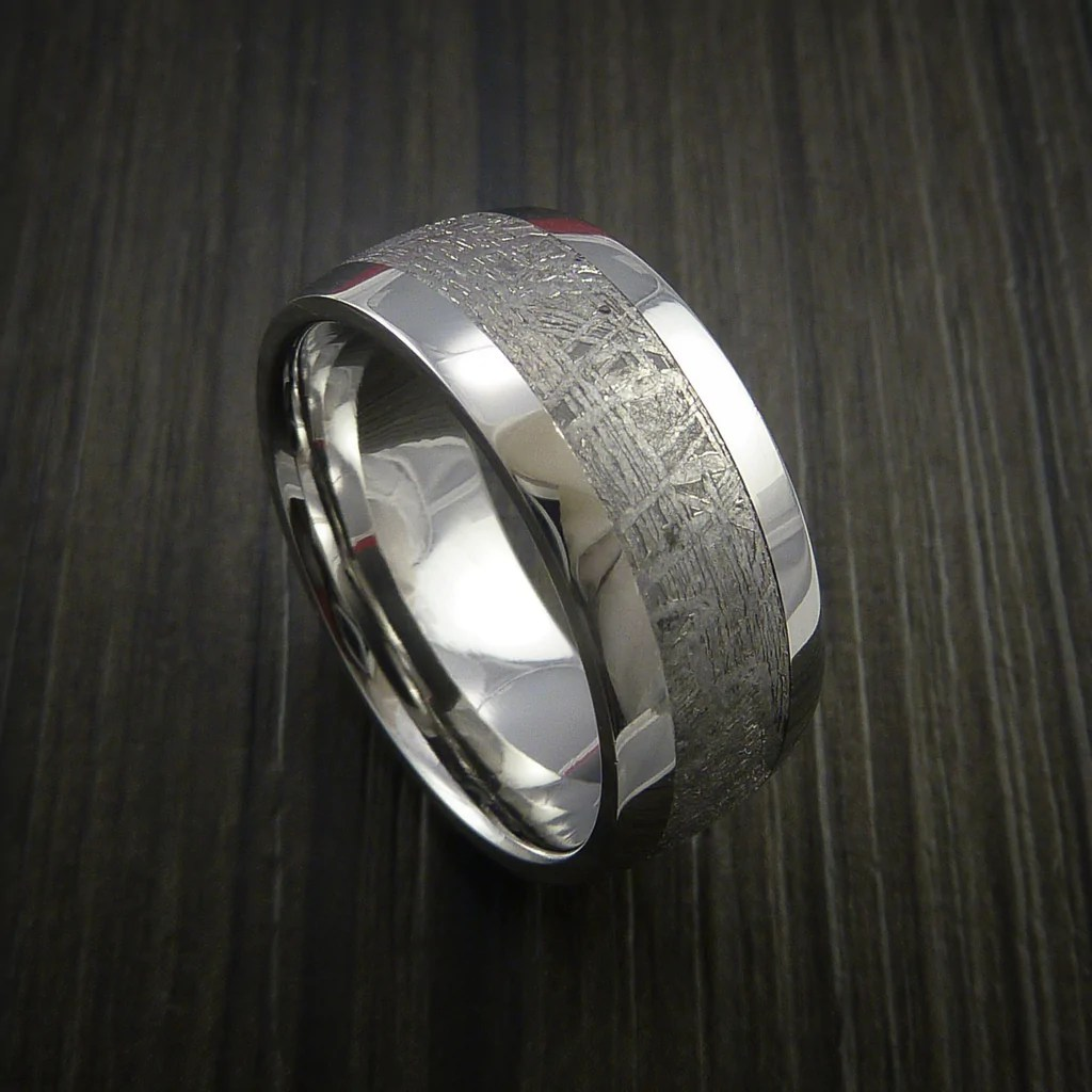 meteorite meteorite wedding ring Gibeon Meteorite in Cobalt Chrome Wedding Band Made to any Sizing and Width