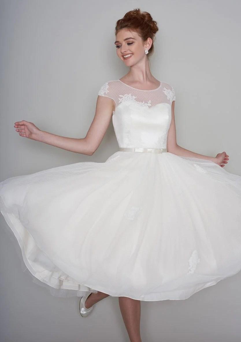 bridal wear wedding dresses short 86 lola Fifties length tea dress with lace appliqu and super full skirt