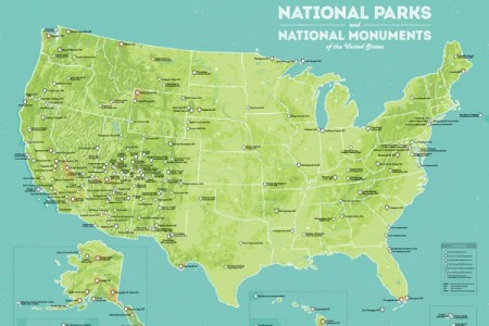 us national parks & national monuments map 18x24 poster