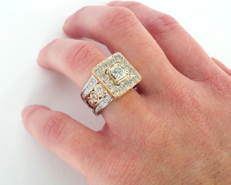 three rings into one wedding ring halo wedding ring Princess Diamond Halo Wedding Ring Redesign