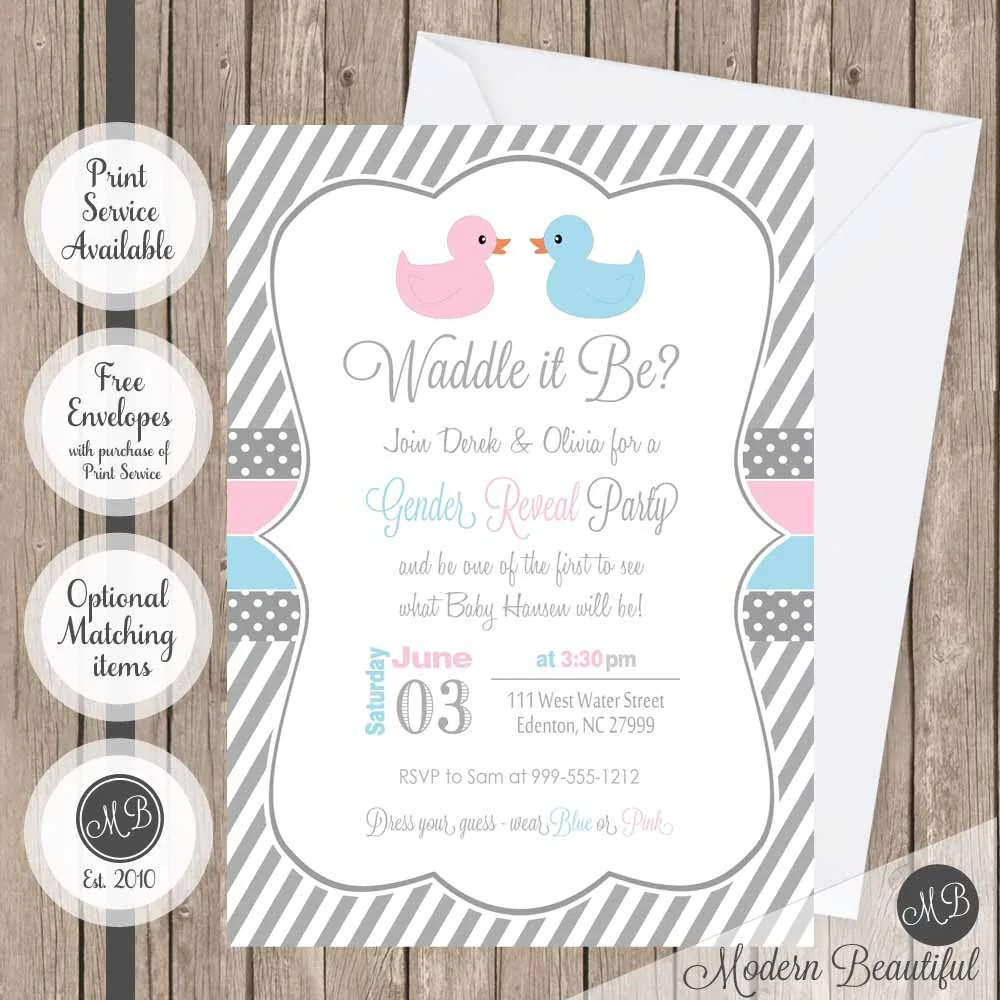 Cute Waddle It Be Gender Reveal Invitations Waddle It Be Duck Gender Reveal Baby Shower Pink Gender Reveal Invitations Spanish Gender Reveal Invitations Twins invitations Gender Reveal Invitations