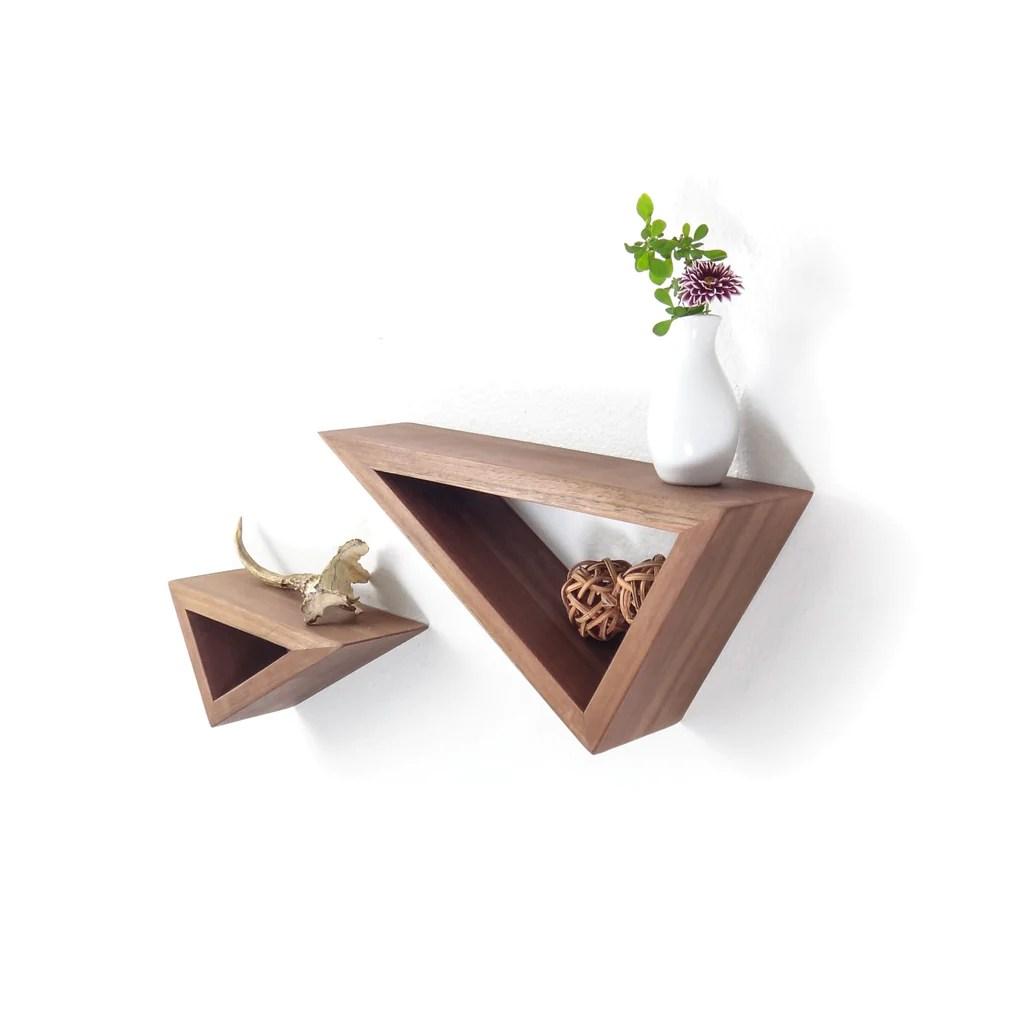 Brilliant Triangular Floating Black Walnut Shelves Fernweh Triangular Floating Shelf Fernweh Woodworking Triangular Floating Black Walnut Shelves Set furniture Triangular Floating Shelves