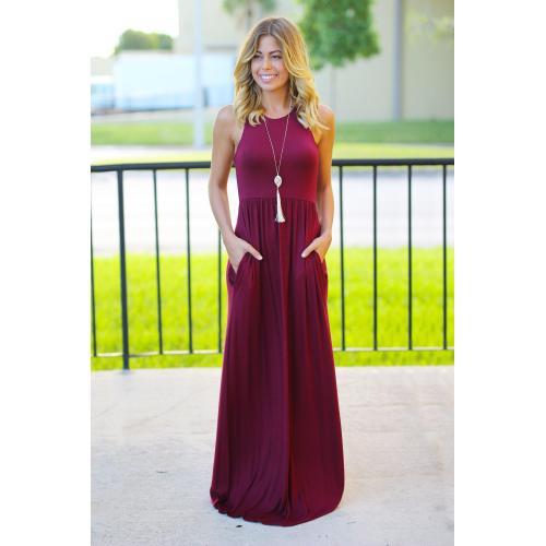 Medium Crop Of Burgundy Maxi Dress