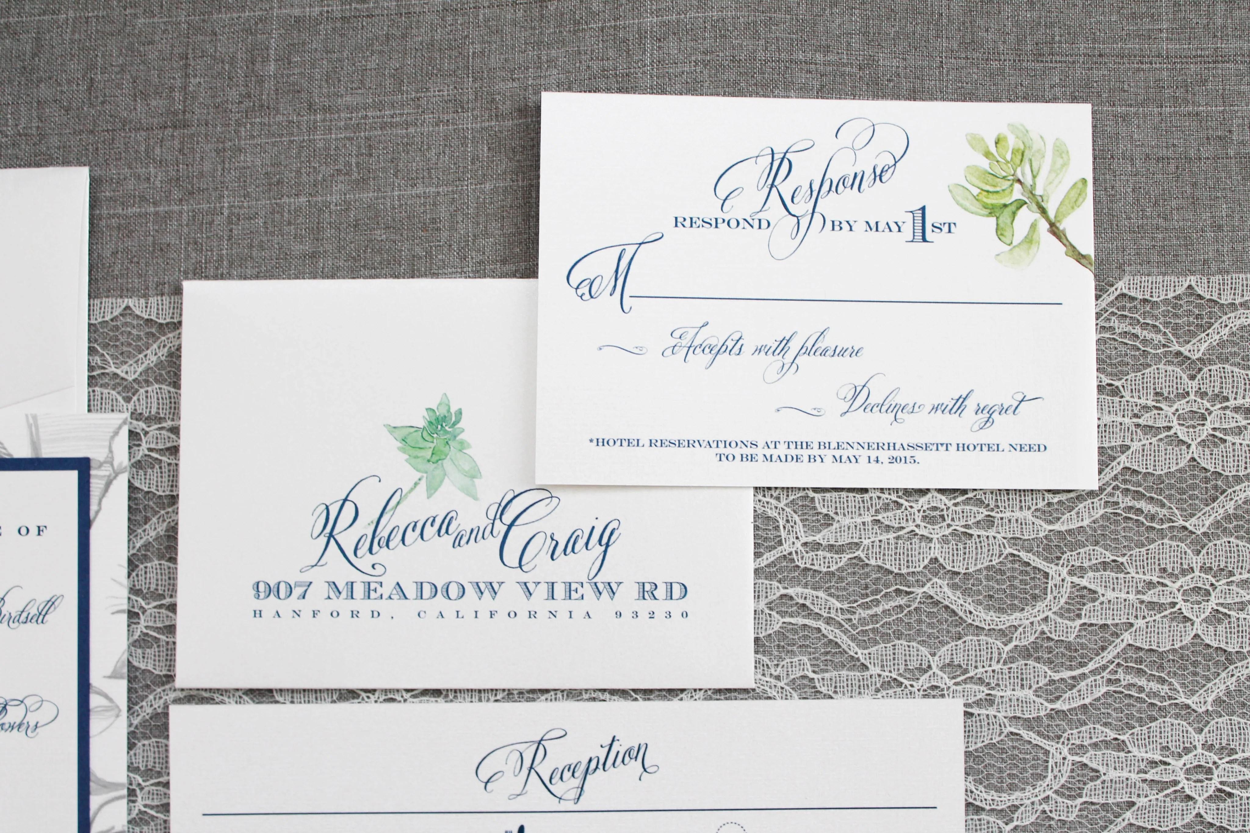 semi custom wedding invitations my bees knees succulent wedding invitations Navy and Sage Succulent Wedding Invitations