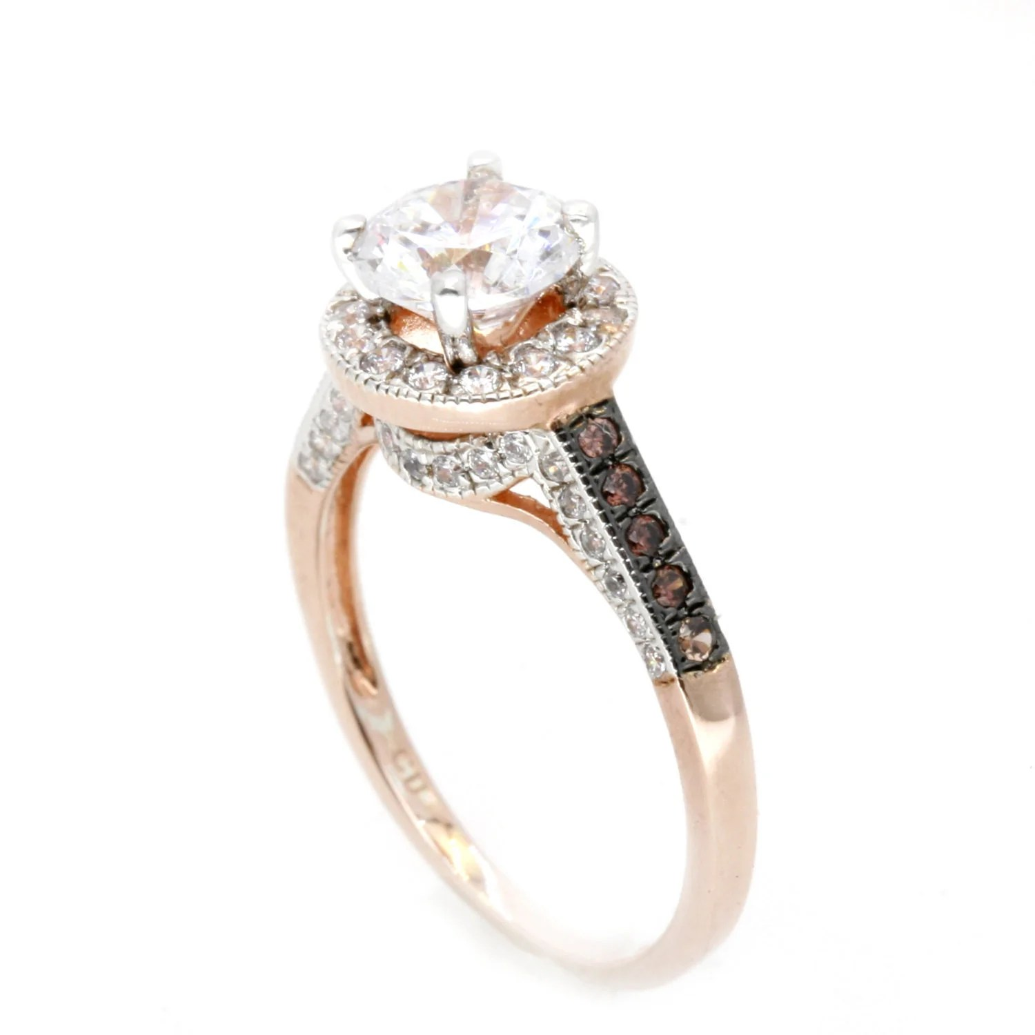 moissanite engagement ring unique 1 carat floating halo rose gold white chocolate color diamonds forever brilliant moissanite chocolate diamond wedding rings Moissanite Engagement Ring Unique 1 Carat Floating Halo Rose Gold White Chocolate Color