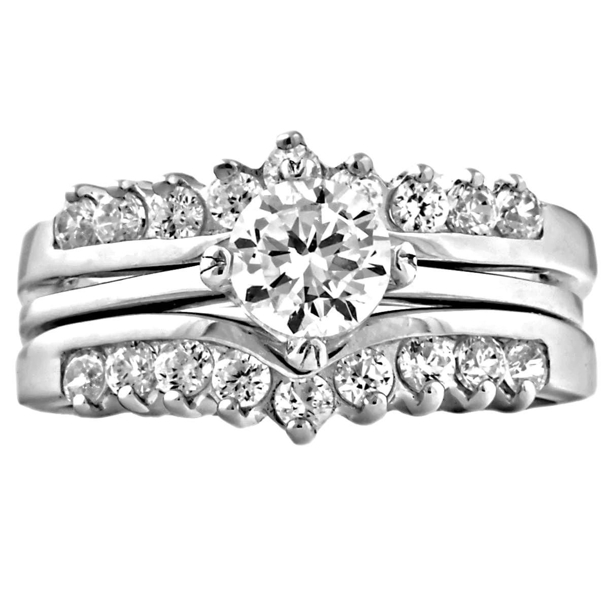 princess christina ice on fire cz wedding ring set with ring guard wedding ring guard Princess Christina Ice on Fire CZ Wedding Ring Set with Ring Guard Jewels com