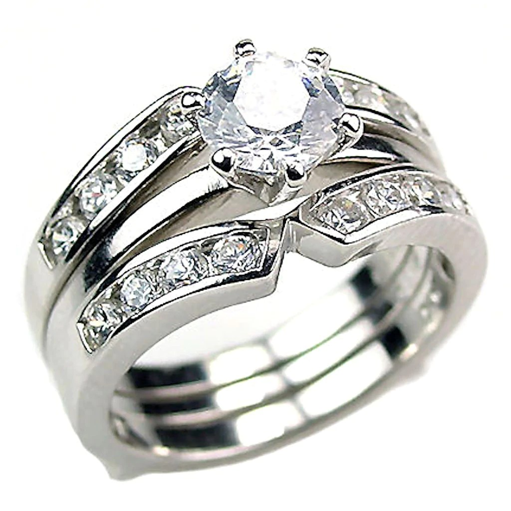 ring guards wedding ring guard Holly 2 2ct Ice on Fire CZ Wedding Set with Ring Guard Sterling Silver