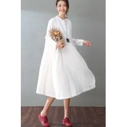 Multipurpose Graduation Spring Casual Cotton Linen Dresses Long Sleeve Shirt Dress Womenclos Spring Casual Cotton Linen Dresses Long Sleeve Shirt Dress Long Dresses Long Sleeves Long Dresses