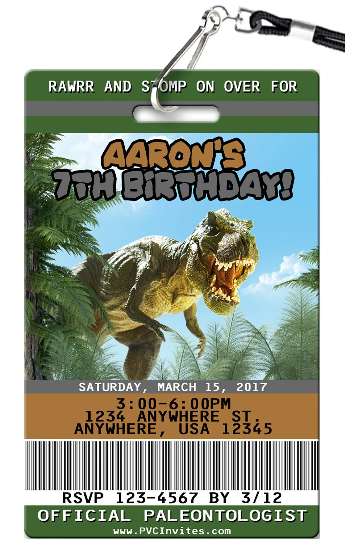 Fullsize Of Dinosaur Birthday Invitations