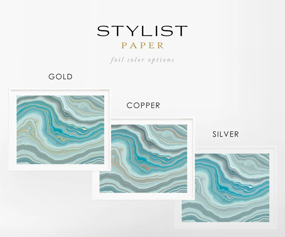 Ritzy Blue Green Agate Waves Real Foil Art Print Blue Green Agate Waves Real Foil Art Print Stylist Paper What Color Is Blue Or Green What Color Number Is houzz-03 What Color Is Teal