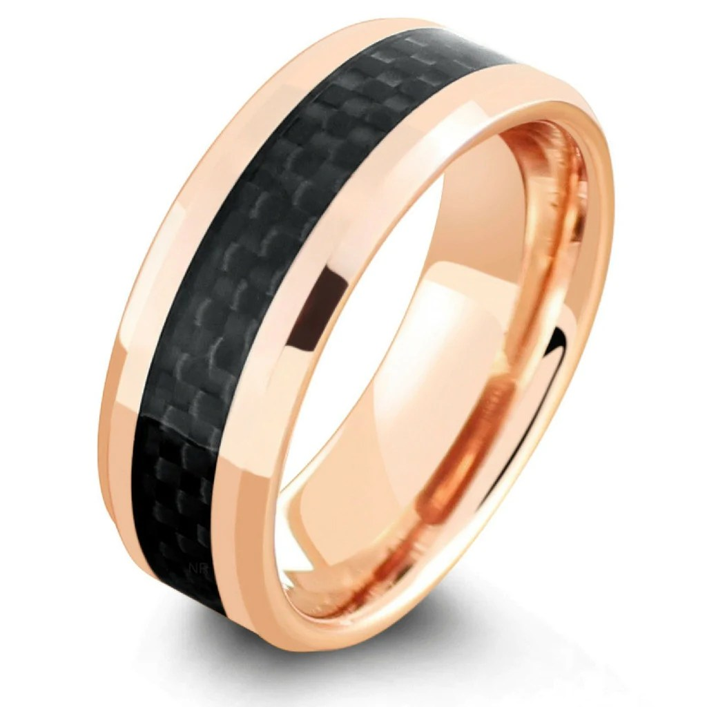 18k rose gold tungsten carbide 18 karat rose gold ring rose gold ring with carbon fiber inlay rose gold ring tungsten carbon fiber tungsten wedding rings 18K Rose Gold Wedding Ring With Black Carbon Fiber Inlay