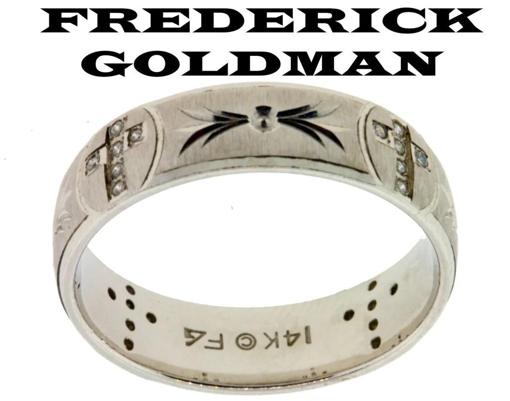 wedding bands le vian wedding bands Frederick Goldman men s 12ct diamond cross wedding band in 14k gold size 10