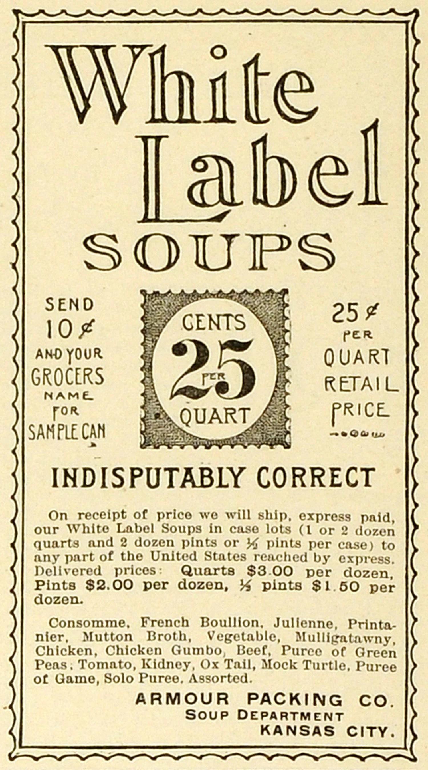 Inspiring Ad Armour Packing Co Kansas Label Soups Consomme Bouillon Ad Armour Packing Co Kansas Label Soups Consomme Bouillon Pints Per Quart Per Gallon 2 Us Pints houzz-02 Pints Per Quart